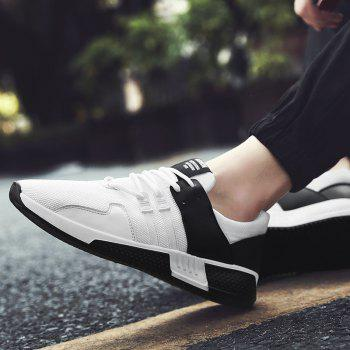 Color Block Lace-Up Sport Shoes - WHITE 41
