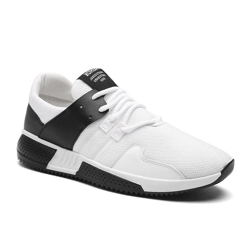 Color Block Lace-Up Sport Shoes - WHITE 42