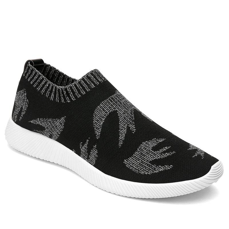 Bird Pattern Knited Color Block Casual Shoes - GRAY 41