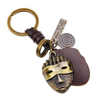 Hot Sale Punk Alloy Mask Pendant Keychain with Leather Piece - BRONZED BRONZED