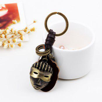 Hot Sale Punk Alloy Mask Pendant Keychain with Leather Piece - BRONZED