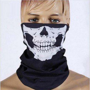 Halloween Party Skull Mask Black Motorcycle Multifunctional Headgear Hat Scarf Neck - BLACK + WHITE BLACK / WHITE