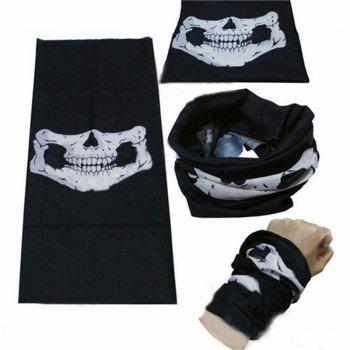 Halloween Party Skull Mask Black Motorcycle Multifunctional Headgear Hat Scarf Neck -  BLACK / WHITE