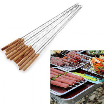 Useful 10PCS Steel Metal Bbq Barbecue Skewer Grill Kebab Needles Stick Wooden Handle Kitchen Needle Outdoor - WOOD WOOD