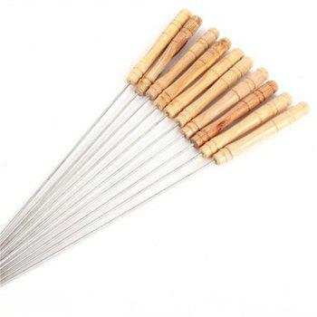 Useful 10PCS Steel Metal Bbq Barbecue Skewer Grill Kebab Needles Stick Wooden Handle Kitchen Needle Outdoor -  WOOD
