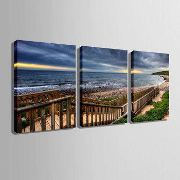 Yc Special Design Frameless Paintings Boardwalk Along The Coast of 3 - SEA BLUE 20 X 14 INCH (50CM X 35CM)