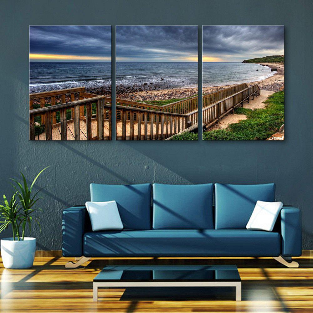 Yc Special Design Frameless Paintings Boardwalk Along The Coast of 3 - SEA BLUE 9 X 13 INCH (24CM X 34CM)