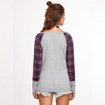 The New Grid Stitching Round Neck Long Sleeve T-Shirt - GRAY GRAY