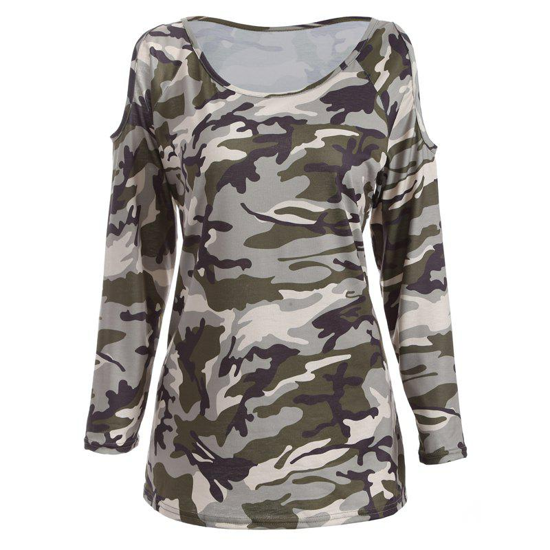 The New Long-Sleeved Camouflage Colored T-Shirt - CAMOUFLAGE S