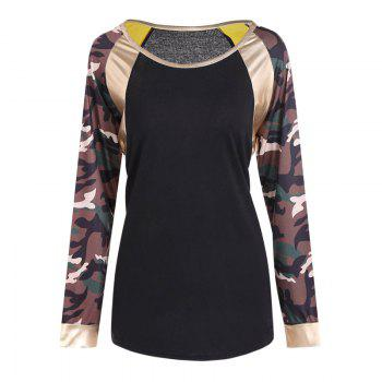 New Round Neck Camouflage Long Sleeve T-Shirt - CAMOUFLAGE CAMOUFLAGE