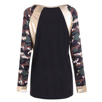 New Round Neck Camouflage Long Sleeve T-Shirt - CAMOUFLAGE M