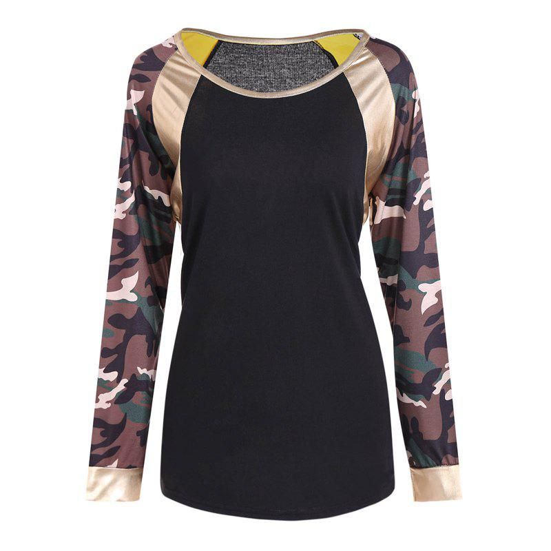 New Round Neck Camouflage Long Sleeve T-Shirt - CAMOUFLAGE L