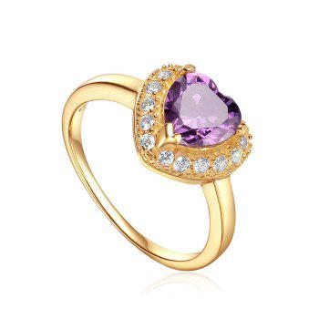 Sh Starharvest 925 Sterling Silver Ring with Aaa Cz Best Seller Purple Heart Gold Promise - PURPLE 6