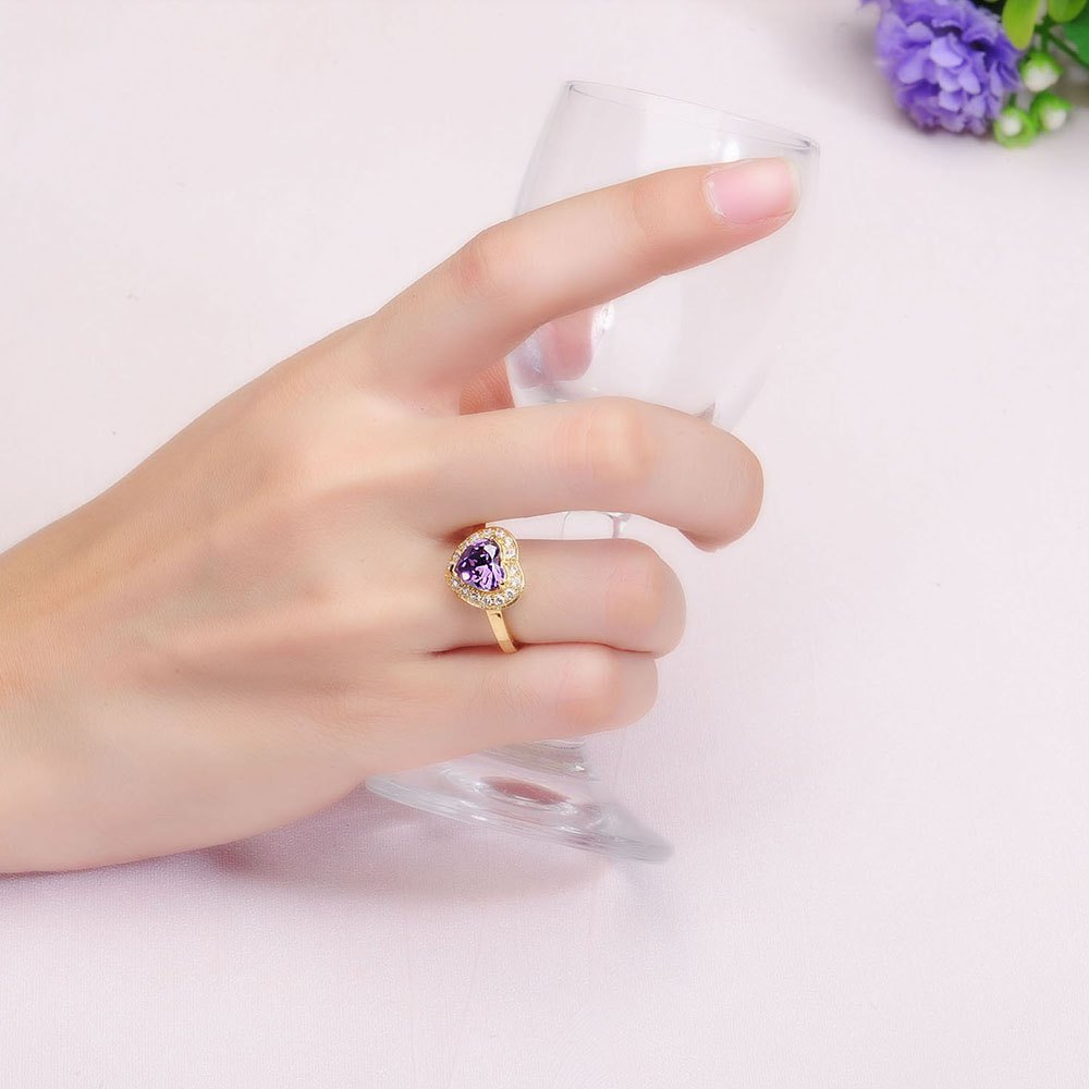 Sh Starharvest 925 Sterling Silver Ring with Aaa Cz Best Seller Purple Heart Gold Promise - PURPLE 7