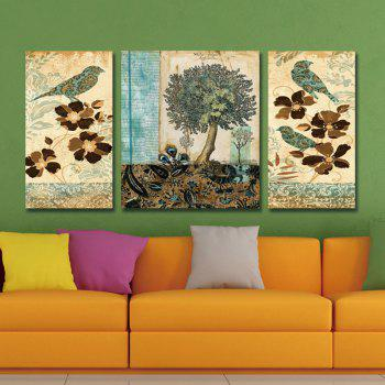 Dyc 10020 3PCS Flowers And Birds Print Art Ready To Hang Paintings - COLORMIX