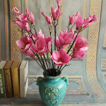 1 Branch European Style Magnolia Flower Home Decoration Artificial Flower -  ROSE RED