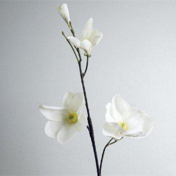 1 Branch European Style Magnolia Flower Home Decoration Artificial Flower - WHITE WHITE