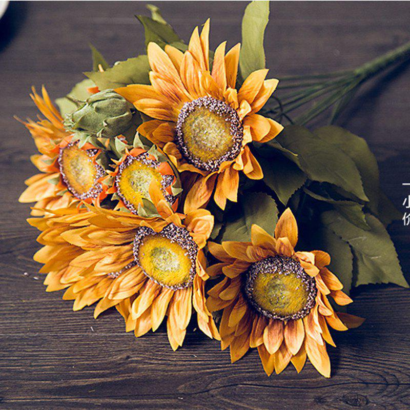 1 Bouquet 13 Heads Retro European Style Oil Painting Feel Sunflower Artificial Flowers 50CM - YELLOW