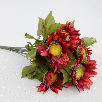 1 Bouquet 13 Heads Retro European Style Oil Painting Feel Red Sunflower Artificial Flowers 50CM - RED RED
