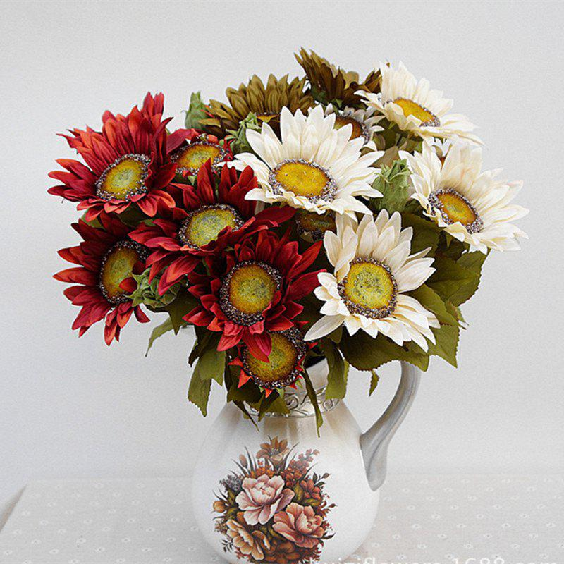 1 Bouquet 13 Heads Retro European Style Oil Painting Feel Red Sunflower Artificial Flowers 50CM - RED