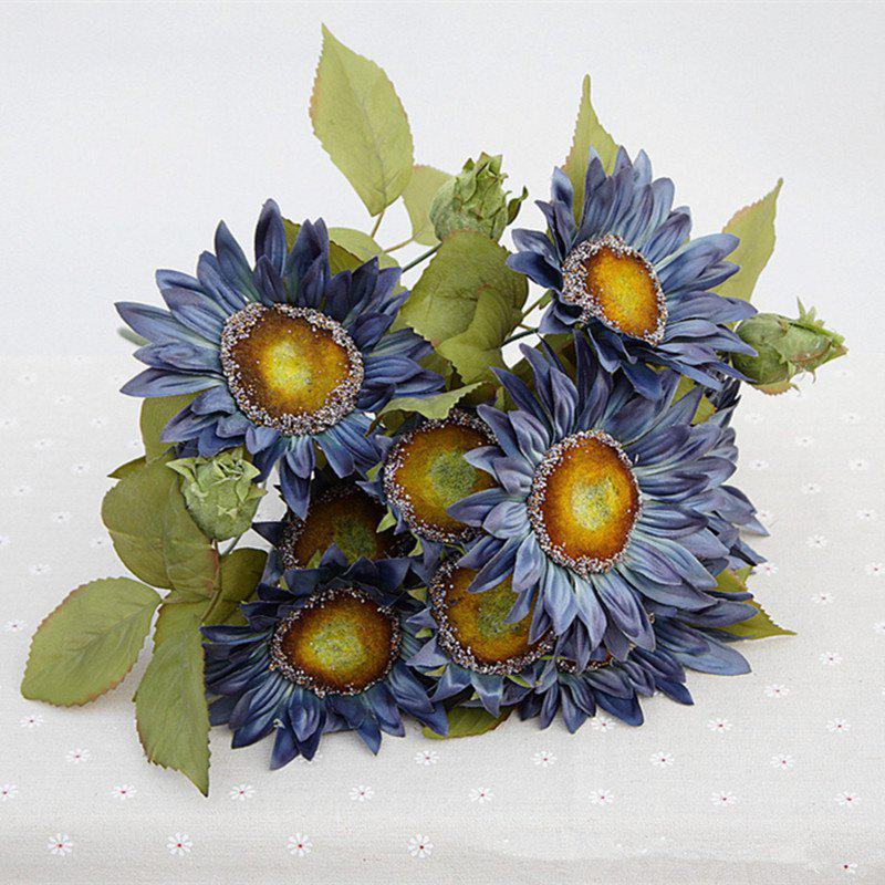 1 Bouquet 13 Heads Retro European Style Oil Painting Feel Blue Sunflower Artificial Flowers 50CM - BLUE