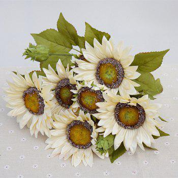 1 Bouquet 13 Heads Retro European Style Oil Painting Feel White Sunflower Artificial Flowers 50CM - WHITE WHITE