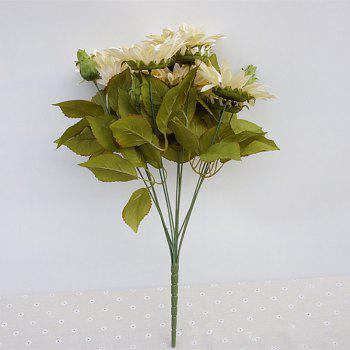 1 Bouquet 13 Heads Retro European Style Oil Painting Feel White Sunflower Artificial Flowers 50CM - WHITE