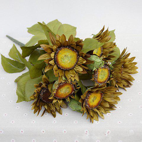 1 Bouquet 13 Heads Retro European Style Oil Painting Feel Greyish-Green Sunflower Artificial Flowers 50CM - GREYISH GREEN