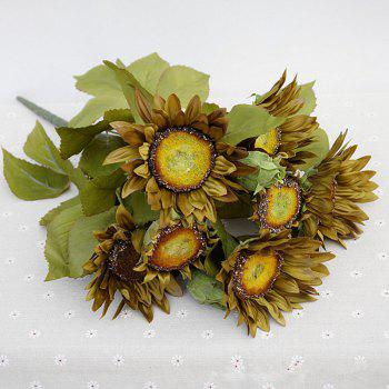 1 Bouquet 13 Heads Retro European Style Oil Painting Feel Greyish-Green Sunflower Artificial Flowers 50CM - GREYISH GREEN GREYISH GREEN