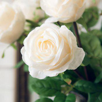 1 Branch High Simulation European Classic Rose Home Decoration Artificial Flower - WHITE