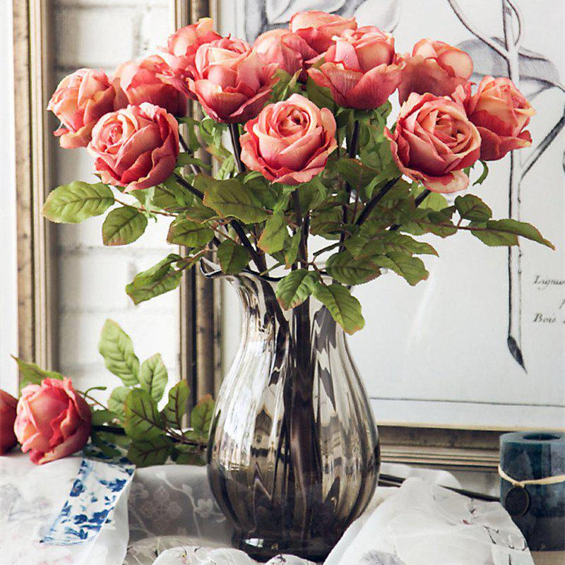 1 Branch High Simulation European Classic Rose Home Decoration Artificial Flower - LAKE