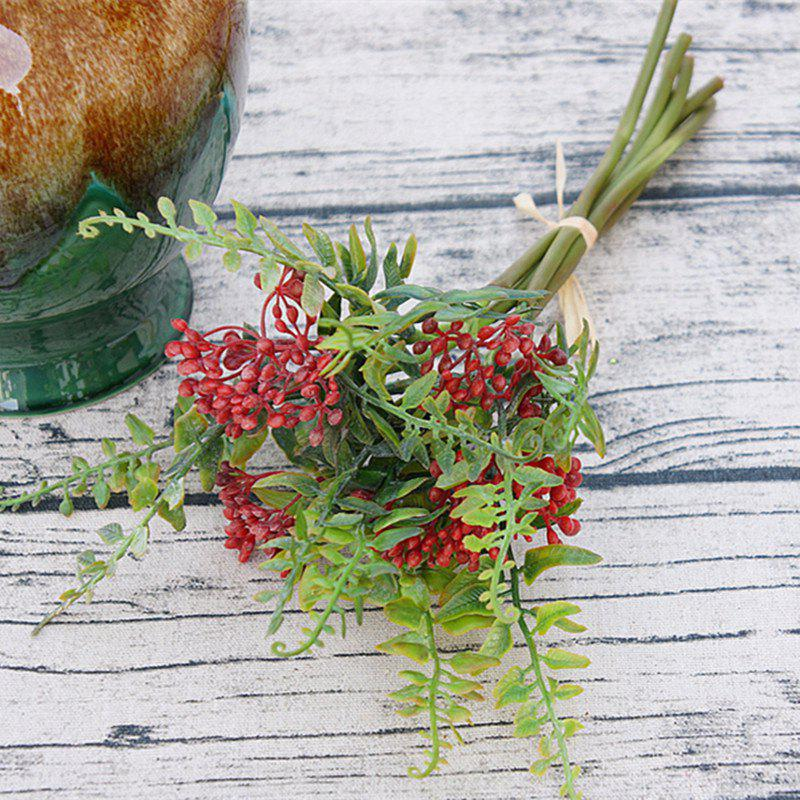6 Branch Simulation Red Loose Fern Fruit Home Decoration Artificial Flower - RED