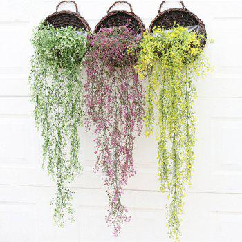 110CM Artificial Plant Rattan Hanging Basket Flower Artificial Flower - WHITE