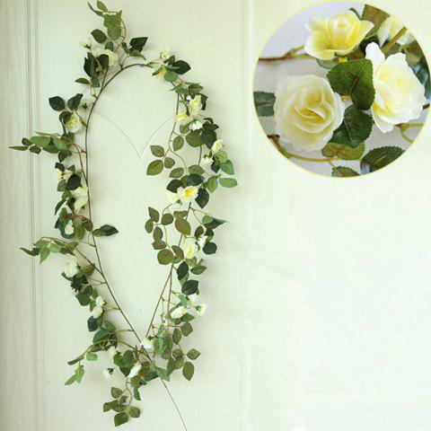 High Fidelity Rose Flower Rattan Home Decoration Artificial Flower 170CM - LIGHT YELLOW