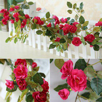 High Fidelity Rose Flower Rattan Home Decoration Artificial Flower 170CM -  RED