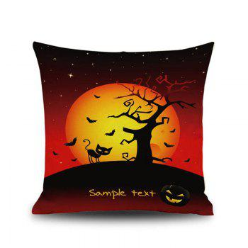 Halloween Night Cushion Cover Black Cat Old Oak Tree Square Linen Decorative Throw Pillow Case - COLORMIX COLORMIX