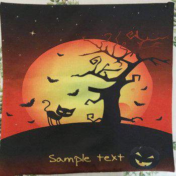 Halloween Night Cushion Cover Black Cat Old Oak Tree Square Linen Decorative Throw Pillow Case - COLORMIX
