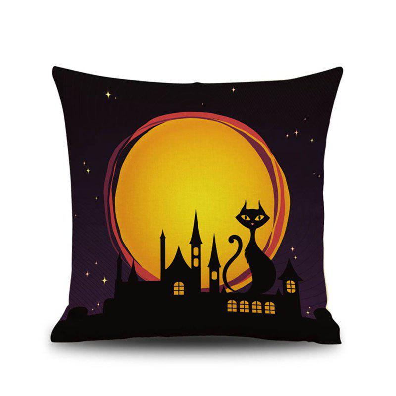 Halloween Night Cushion Cover Black Cat Castle Square Linen Decorative Throw Pillow Case - COLORMIX