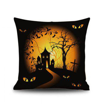 Halloween Night Cushion Cover Cabin Tree Square Linen Decorative Throw Pillow Case - COLORMIX COLORMIX