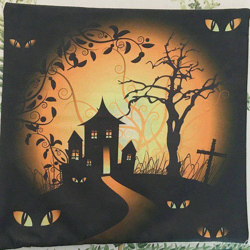 Halloween Night Cushion Cover Cabin Tree Square Linen Decorative Throw Pillow Case - COLORMIX