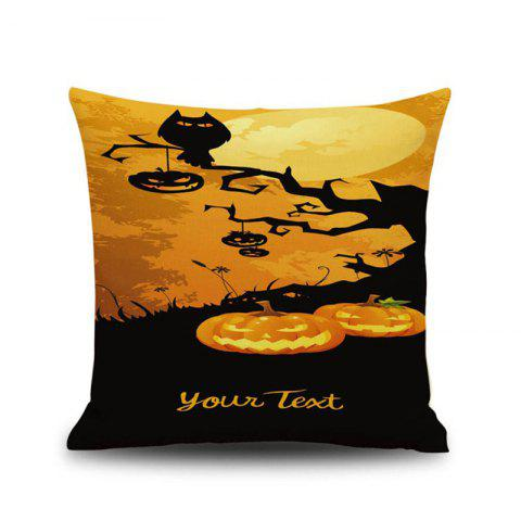Halloween Pumpkin Tree 1 Square Linen Decorative Throw Pillow Case Cushion Cover - COLORMIX