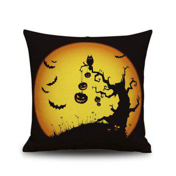 Halloween Pumpkin Tree 2 Square Linen Decorative Throw Pillow Case Cushion Cover - COLORMIX COLORMIX