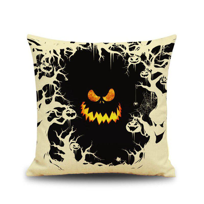 Halloween Pumpkin Devil Square Linen Decorative Throw Pillow Case Cushion Cover - COLORMIX