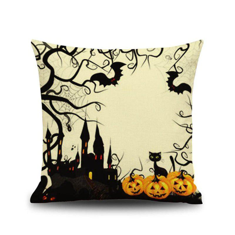 Halloween Pumpkin Castle Square Linen Decorative Throw Pillow Case Cushion Cover - COLORMIX
