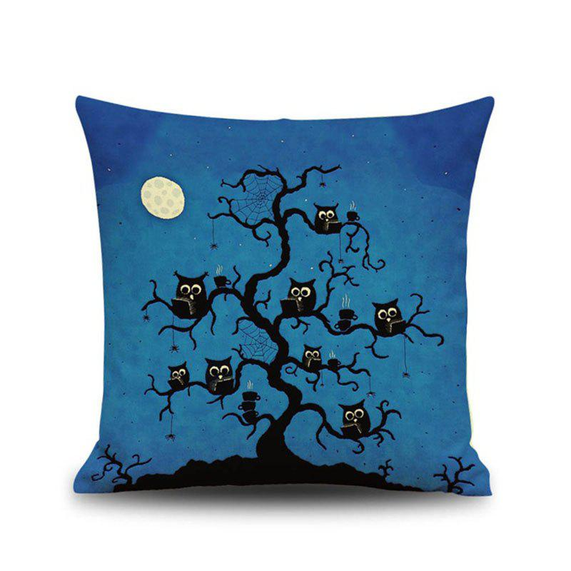 Halloween Night Owl Tree Square Linen Decorative Throw Pillow Case Cushion Cover - COLORMIX