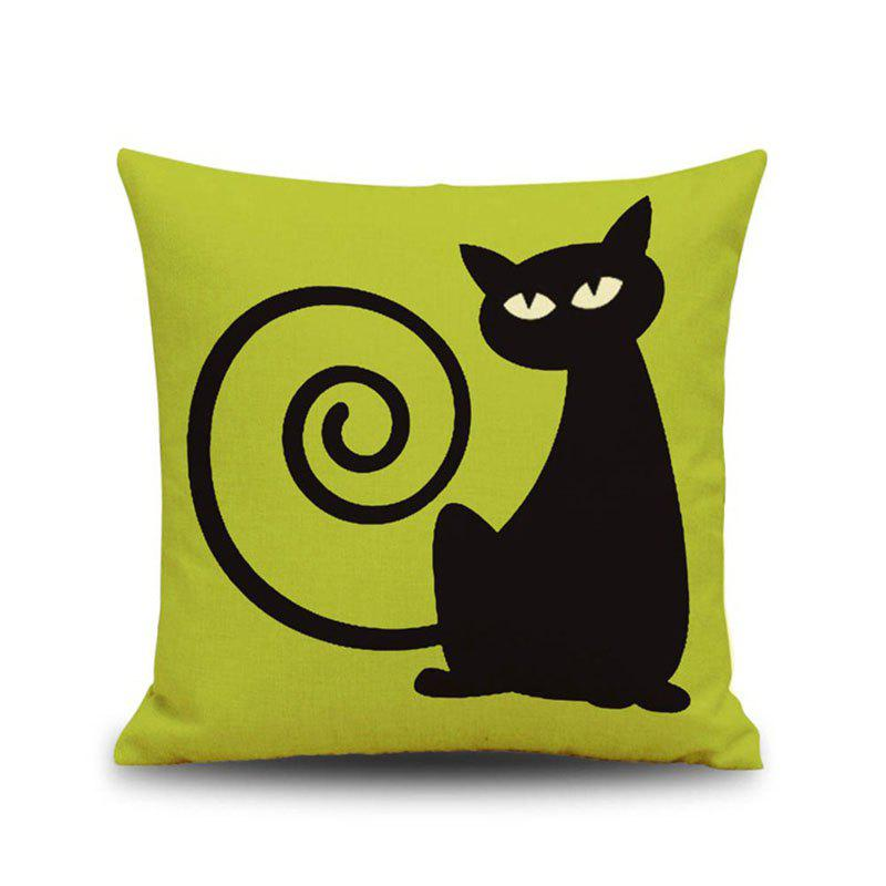Halloween Capuchin Black Cat Square Linen Decorative Throw Pillow Case Cushion Cover - COLORMIX