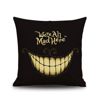 Halloween Clown We Are All Mad Here Linen Decorative Throw Pillow Case Cushion Cover - COLORMIX COLORMIX
