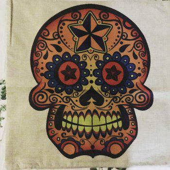 Halloween Golden Skull Head Drawing Linen Decorative Throw Pillow Case Cushion Cover - COLORMIX