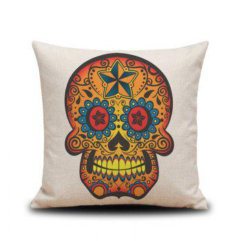 Halloween Golden Skull Head Drawing Linen Decorative Throw Pillow Case Cushion Cover - COLORMIX COLORMIX