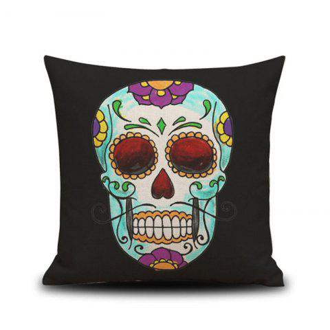 Halloween Colorful Skull Head Drawing Linen Decorative Throw Pillow Case Cushion Cover - COLORMIX